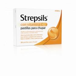 STREPSILS CON VITAMINA C 24 PASTILLAS PARA CHUPAR