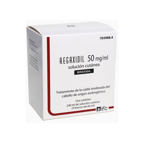 REGAXIDIL 50 MG/ML SOLUCION CUTANEA 4 FRASCOS 60ML