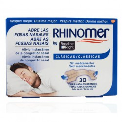 TIRAS NASALES RHINOMER BY BREATHE RIGHT PEQUEÑAS/MEDIANAS 30 UDS