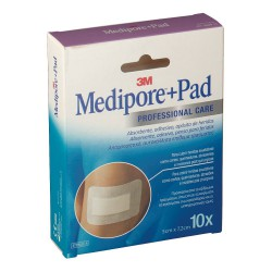 3M MEDIPORE+ PAD APOSITO ESTERIL 5X7,2CM 10 APOSITOS