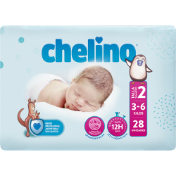PAÑAL INFANTIL CHELINO TALLA 2 (3 -6 KG) 28 UDS