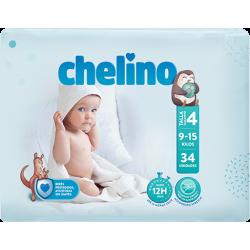 PAÑAL INFANTIL CHELINO TALLA 4 (9 -15 KG) 34 UDS