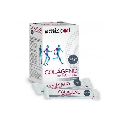 AMLSPORT COLAGENO Y MAGNESIO + VITAMINA C 20 STICKS SABOR FRESA